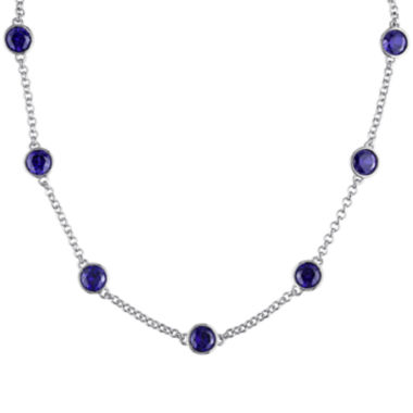 jcpenney.com | Lab-Created Blue Sapphire Sterling Silver Bead Station Necklace