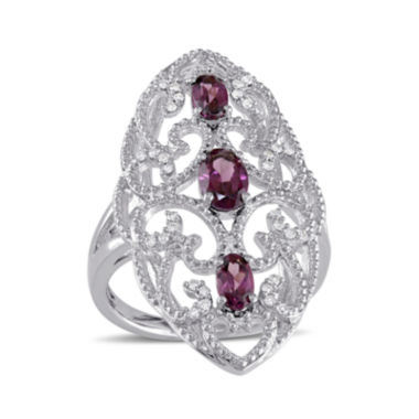 jcpenney.com | Genuine Rhodolite and 1/8 CT. T.W. Diamond Ring