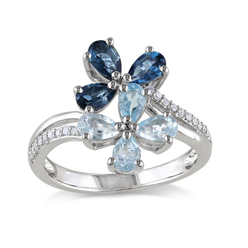 Genuine Sky and London Blue Topaz and 1/10 CT. T.W. Diamond Flower Ring