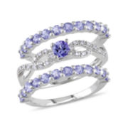 Genuine Tanzanite and 1/10 CT. T.W. Diamond 3-pc. Ring Set