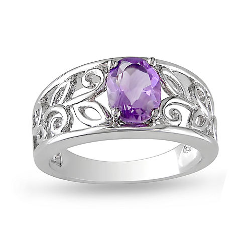 Genuine Amethyst Sterling Silver Scroll Ring