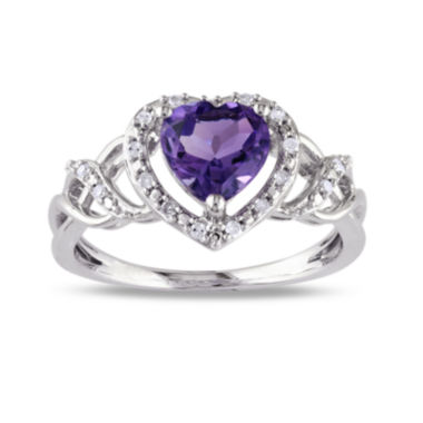 jcpenney.com | Heart-Shaped Genuine Amethyst and Diamond-Accent Ring