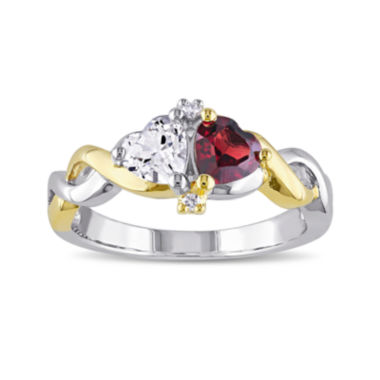 jcpenney.com | Genuine Garnet and Lab-Created White Sapphire Double Heart Ring