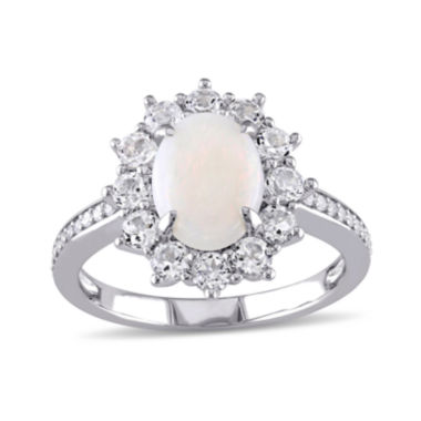 jcpenney.com | Round Genuine Opal, White Topaz and 1/10 CT. T.W. Diamond Starburst Ring
