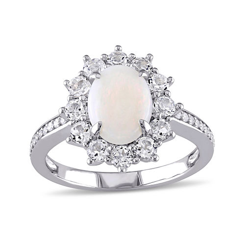 Round Genuine Opal, White Topaz and 1/10 CT. T.W. Diamond Starburst Ring