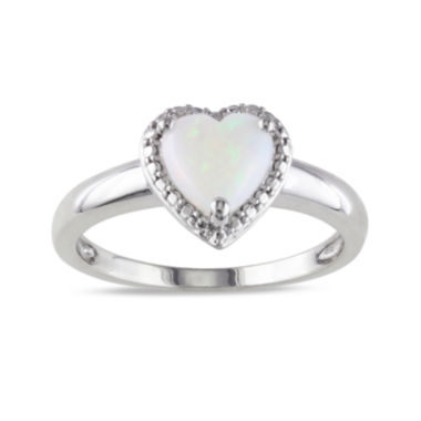 jcpenney.com | Heart-Shaped Genuine Opal Sterling Silver Ring