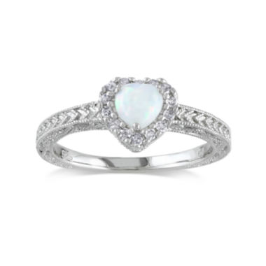 jcpenney.com | Heart-Shaped Genuine Opal and 1/7 CT. T.W. Diamond Sterling Silver Ring