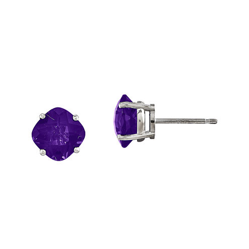 Cushion-Cut Genuine Amethyst 14K White Gold Stud Earrings