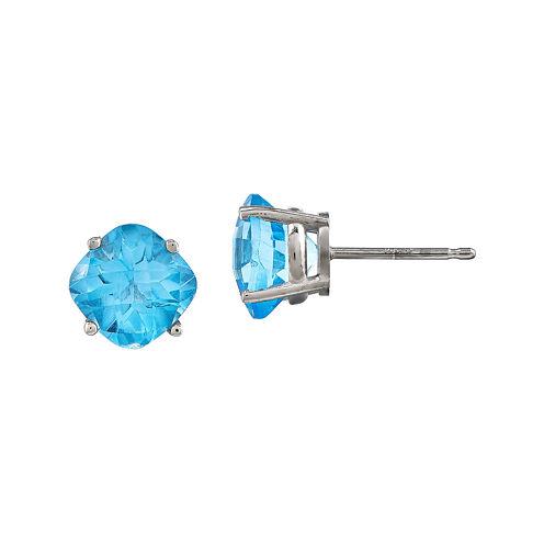 Cushion-Cut Genuine Blue Topaz 14K White Gold Stud Earrings
