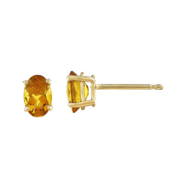 jcpenney.com | Oval Genuine Citrine 14K Yellow Gold Stud Earrings