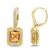Genuine Citrine, White Topaz and Diamond-Accent Earrings