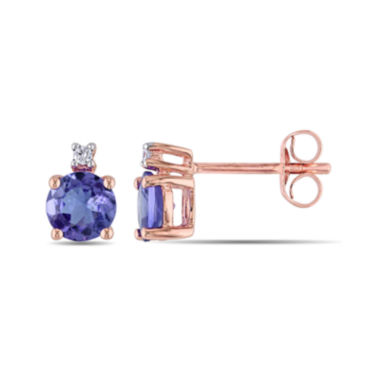 jcpenney.com | Round Genuine Tanzanite and Diamond-Accent 10K Rose Gold Stud Earrings