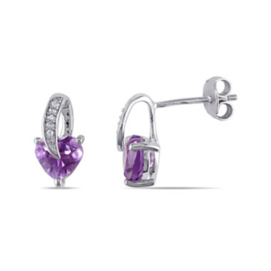 jcpenney.com | Heart-Shaped Genuine Amethyst and Diamond-Accent Earrings