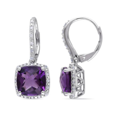 jcpenney.com | Genuine Amethyst and 1/5 CT. T.W. Diamond Earrings
