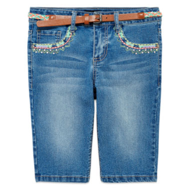 jcpenney.com | Squeeze Belted Denim Shorts - Girls 7-14