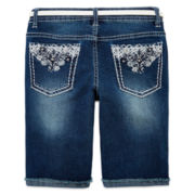 Squeeze Belted Embroidered Denim Shorts - Girls 7-14