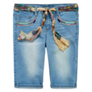 Squeeze Belted Denim Shorts - Girls 7-14