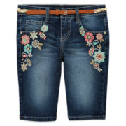 Squeeze Floral Denim Shorts with Belt - Girls 7-16 and Plus