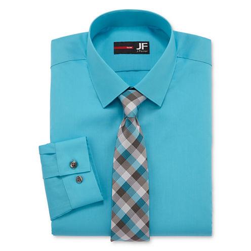 Jf j ferrar dress shirt and tie set slim fit jcpenney for J ferrar military shirt