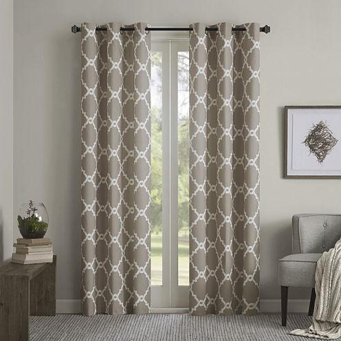 Almaden Printed Fret Grommet-Top Curtain Panels