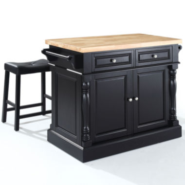 jcpenney.com | Dayton Butcher Block Kitchen Island With Saddle Stools