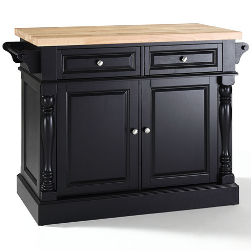 Dayton Butcher Block Kitchen Island with Towel Rack