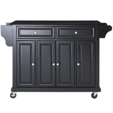 Kitchen Island Jcpenney wellman black granite-top rolling kitchen island - jcpenney