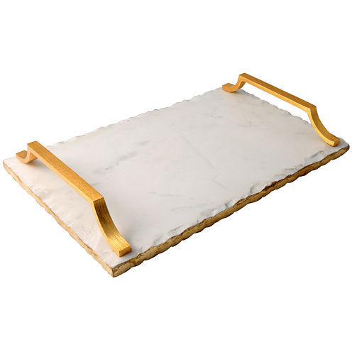 Thirstystone® Old Hollywood Marble Serving Tray with Golden Handles