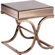 Aberdeen Champagne Mirrored End Table