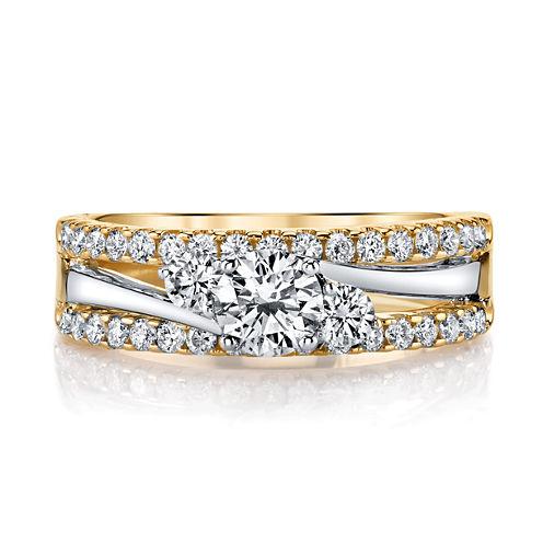 Sirena Womens 1 CT. T.W. Round White Diamond 14K Gold Engagement Ring