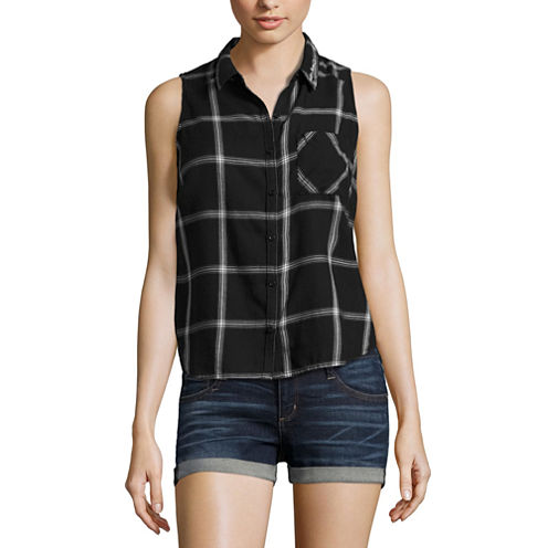 Arizona Sleeveless Button-Front Shirt-Juniors