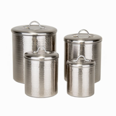 jcpenney.com | Old Dutch 4 Piece Brushed Nickel Hammered CanisterSet with Fresh Seal Lids