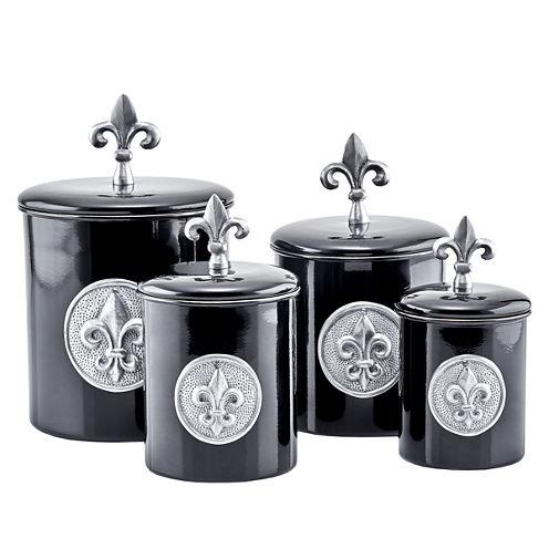Old Dutch 4 Piece Black Fleur De Lis Canister Setwith Fresh Seal Lids