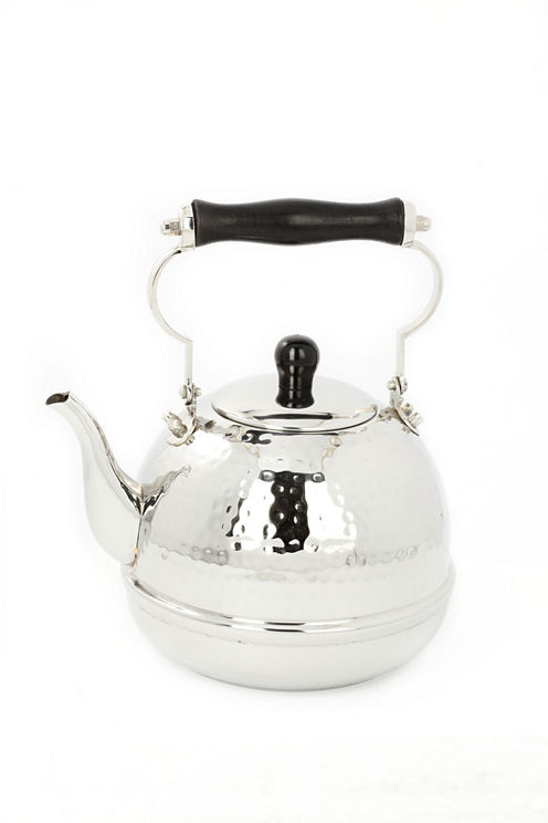 Old Dutch Stainless Steel Hammered Tea Kettle withWood Handle 2 Qt