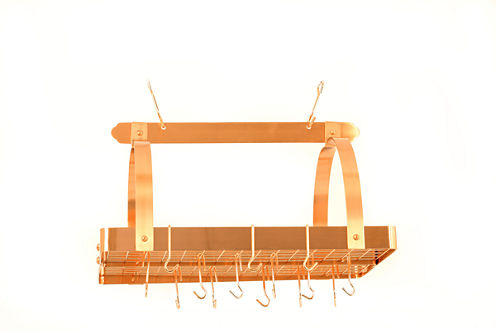 Old Dutch Satin Copper Rectangular Hanging Pot Rack with Grid and 24 Hooks
