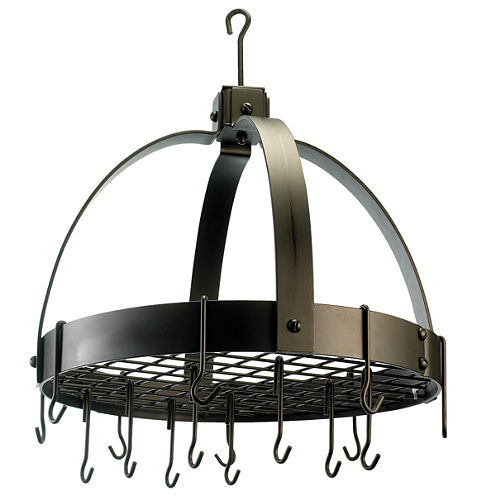 Old Dutch Oiled Bronze Dome Hanging Pot Rack withGrid and 16 Hooks