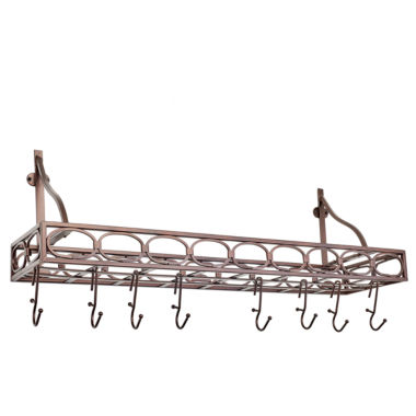 jcpenney.com | Old Dutch Oiled Bronze Medium Gauge Wall Mount Bookshelf Pot Rack with 8 Hooks