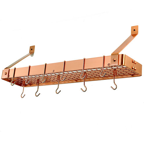 Old Dutch Satin Copper Wall Mount Bookshelf Pot Rack with Grid and 12 Hooks