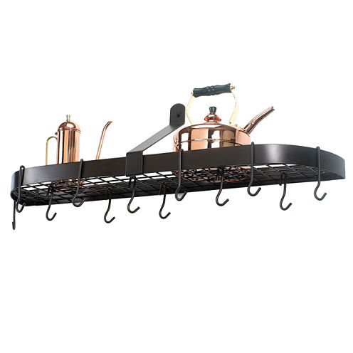 Old Dutch Oiled Bronze Wall Mount Pot Rack with Grid and 12 Hooks