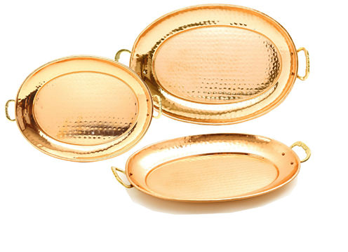 Old Dutch Hammered Décor Copper Oval Trays 3 Piece Set