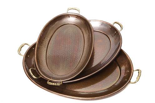 Old Dutch Hammered Décor Antique Copper Oval Trays 3 Piece Set