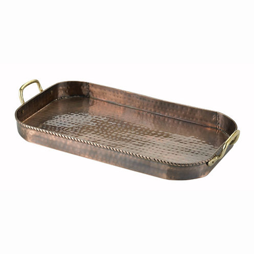 Old Dutch Hammered Antique Copper Oblong Tray withCast Brass Handles