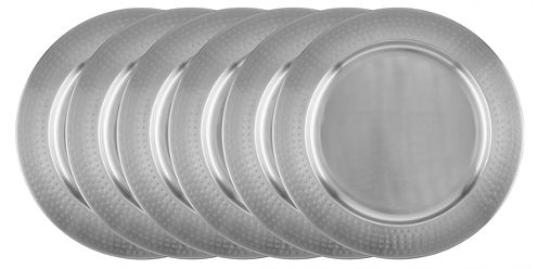 Old Dutch Hammered Rim Stainless Steel Set of 6 Charger Plates