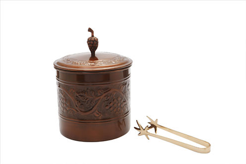Old Dutch Antique Embossed Heritage Ice Bucket with Brass Tongs 3 Qt