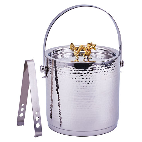 Old Dutch Dragon Handle Hammered Ice Bucket with Lid and Ice Tong