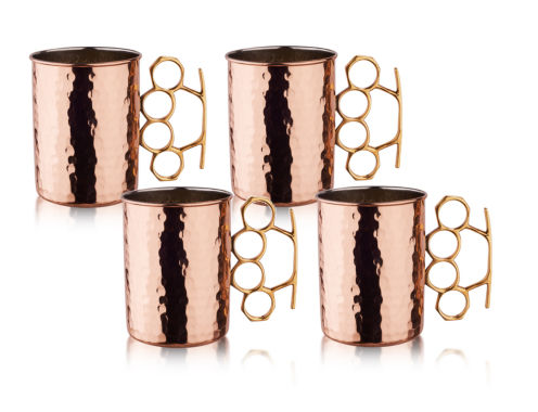 jcpenney.com | Old Dutch 20 Oz Hammered Solid Copper Brass Knuckle Moscow Mule Mugs Set of 4