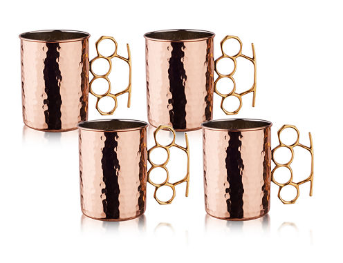 Old Dutch 20 Oz Hammered Solid Copper Brass Knuckle Moscow Mule Mugs Set of 4