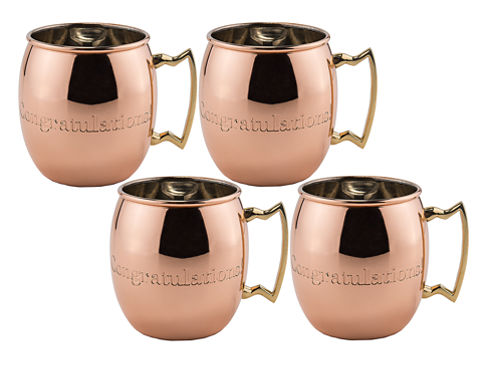 Old Dutch 16 Oz Solid Copper Congratulations Moscow Mule Mugs Set of 4