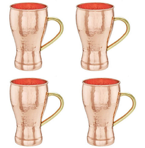 Old Dutch 14 Oz Hammered Solid Copper Soda Fountain Style Moscow Mule Mugs Set of 4