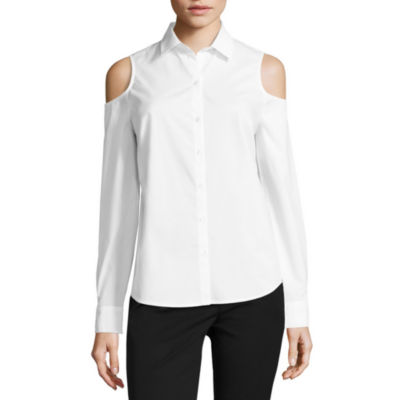 Worthington Long Sleeve Cold Shoulder Button Front Shirt